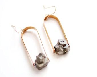 Pyrite Nugget Arch Earrings | Brass Earrings | 14k Gold Fill Earrings | Sterling Silver Earrings | Raw Stone Jewelry | Raw Stone Earrings