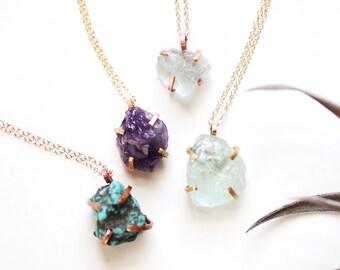 Raw Aquamarine Necklace | Raw Stone Necklace | Raw Stone Jewelry | Prong Necklace | Aquamarine Jewelry | Brass Copper | Birthstone Jewelry