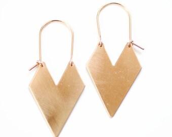 Chevron Arrow Earrings | Hoop Earrings | Brass Chevron Earrings | Gold Chevron | Silver Chevron | Brass Arrow | Gold Arrow | Geometric
