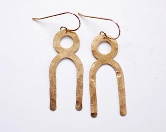 Modern Knot Twist Earrings   Knot Earrings   Circle Earrings   Minimalist Earrings   Modern Jewelry   Brass Earrings
