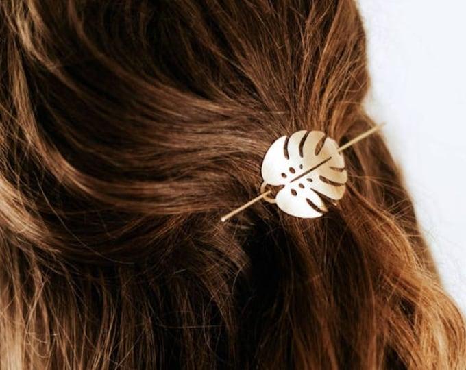 Monstera Leaf Hair Pin | Brass Hair Clip | Brass Hair Slide | Hair Barrette | Hair Accessories | Palm Leaf