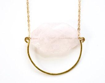Hammered Circle Rose Quartz Necklace | Brass | 14kGold Filled | Sterling Silver