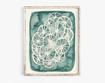 Teal Wheel Pattern Wall Art Print   Watercolor Art   Geometric Art   Pattern Art   Vintage Art   Abstract Art   5x7 8x10 11x14 16x20