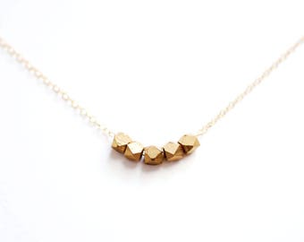Minimalist Faceted Bead Necklace | Brass | 14k Gold Filled | Sterling Silver