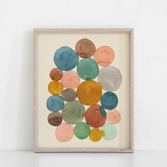 Watercolor painting watercolor print Connecting the dots abstract watercolor painting