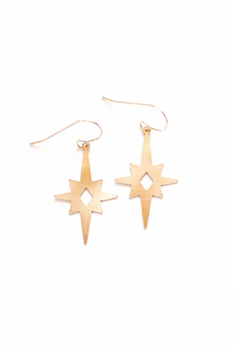 Brass Earrings 14k Gold Filled Earrings Sterling Silver Earrings Vintage Inspired Midcentury Atomic Starburst Earrings