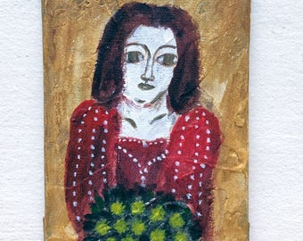 A woman with yellow bouquet - Petite art - Original art - Folk art