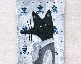 A portrait of Duke of black fox - Petite art - Original art - Wall art