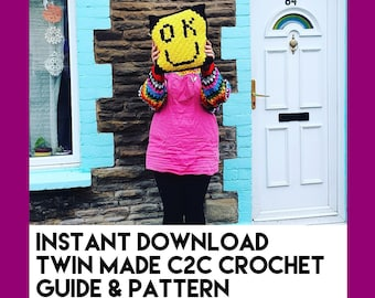 OK Smiley Face C2C Crochet Guide and Pattern - Instant Download