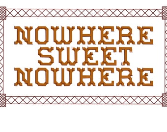 Nowhere Sweet Nowhere Cross and Back Stitch Pattern. PDF. Learn a craft. Beginner/Intermediate.