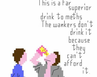 Withnail & I Film Still and Quote Cross Stitch Pattern with Back Stitch Detail. PDF. Learn a craft. Beginner/Intermediate.