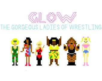 GLOW Gorgeous Ladies of Wrestling Cross Stitch Pattern PDF Instant Download