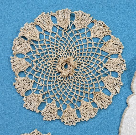 Vintage & Lot embellissement dentelle ancienne... médaillon, S'épanouir, médaillon, ancienne... lin, Crochet, Whitework Filet, Collection... début et le milieu des années 1900, EL1833 960136