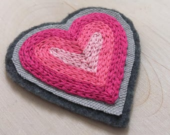 Sew-on Heart Jacket Patch, Valentine's Gift For Her, Pink Ombré Heart, Hand Stitched Pink Patch, Hand Embroidered Cupid Valentine Heart