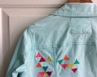 Embroidered Denim Jacket, Sustainable Thrift Clothing, Geometric Print, 90s Style, Embellished Jean Jacket,Gift For Women, Embroidery Design