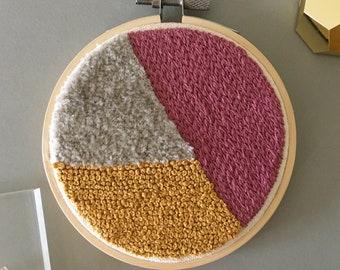 Embroidery Hoop Art, Modern Textile Art, Abstract Embroidery Art, Home Decor, Color Block, Original Embroidery, Modern Minimalist Wall Art