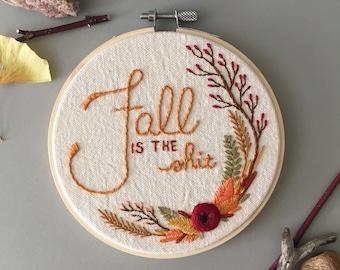 Wildflower Fall Decor, Hand Embroidered Flower Hoop, Modern Autumn Embroidery, I Love Fall, Autumn Decor, Modern Floral Wall Art