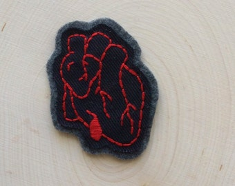 Bleeding Heart Patch, Anatomical Heart, Goth Art, Vampire Clothing, Embroidered Tattoo Art, Fiber Art Stocking Stuffer, Sew-On Jacket Patch