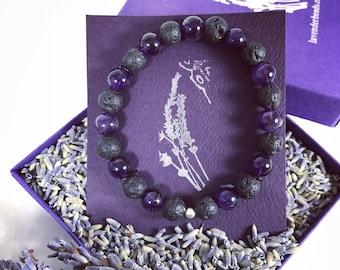Lava Stone Essential Oil Gemstone Quality Purple Amethyst Aromatherapy Diffuser Bracelet Natural Volcanic Lava Bead,Stretch Elastic Bracelet