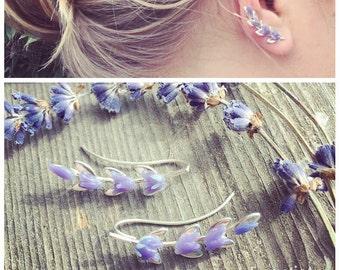 Lavender Ear Climber, Sterling Silver Botanical Flower, Ear Jacket Manchette, Ohrklemme Ohrclip, Ear Cuff, Ear Pin, Ear Sweep, Glass Jewelry