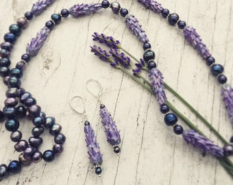 Lavender Fields Necklace with Matching Earring Set