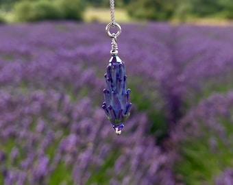 Botanical Jewelry, Lavender Glass Bead Pendant, floral necklace, flower pendant, lavender beads glass bead necklace pendant sterling silver