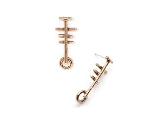 Suma Earrings // bronze & sterling silver