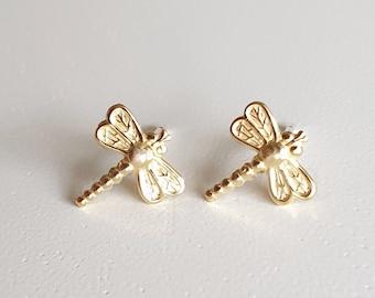 Dragonfly Earrings, Tiny Earring Studs, Whimsical Dragonfly Earrings, Dragonfly Jewelry, Dainty Earrings, Cute Jewelry, Everyday Earrings