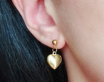 Locket Earrings, Heart Locket Earrings, Dark Academia Jewelry, Friendship Earrings, Photo Picture Locket Earrings, Dark Academia Aesthetic