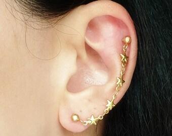 Star Chain Helix Earring, Helix To Lobe Earring, Statement Earrings, Gold Cartilage Earring, Gift for Her, Star Jewelry, Double Ear Piercing