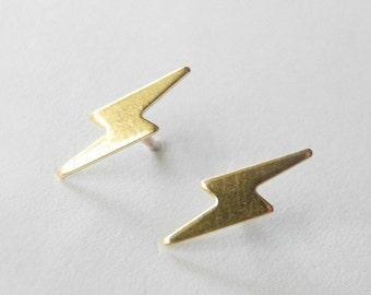 Lightning Bolt Earrings, Lightning Jewelry, Unisex Earrings, Tiny Earring Studs, Thunder Bolt Jewelry, Sterling Silver Hypoallergenic (E194)