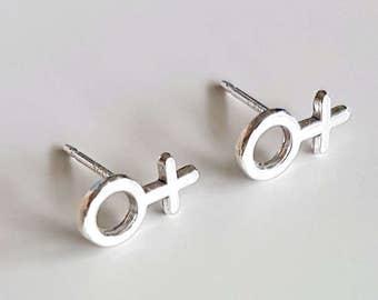 Sterling Silver Feminist Earrings, Feminist Gift, Girl Power, Feminist Jewelry, Tiny Stud Earrings, Venus Symbol, Hypoallergenic Studs