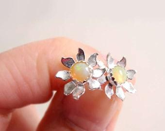Opal Earring Studs, Flower Opal Earrings, Sterling Silver Jewelry, Birthstone Earrings, Flower Studs, Sterling Silver Hypoallergenic (E275)