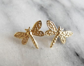 Dragonfly Earrings, Insect Jewelry, Outlander Jewelry, Dragonfly Earring Studs, Dragonfly Jewelry, Sterling Silver Hypoallergenic (E270)