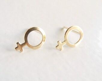 Feminist Earrings, Gold Feminist Jewelry, Female Gender Symbol Studs, Venus Symbol Earrings, Feminist Gift, Empower Women, Girl Power Studs