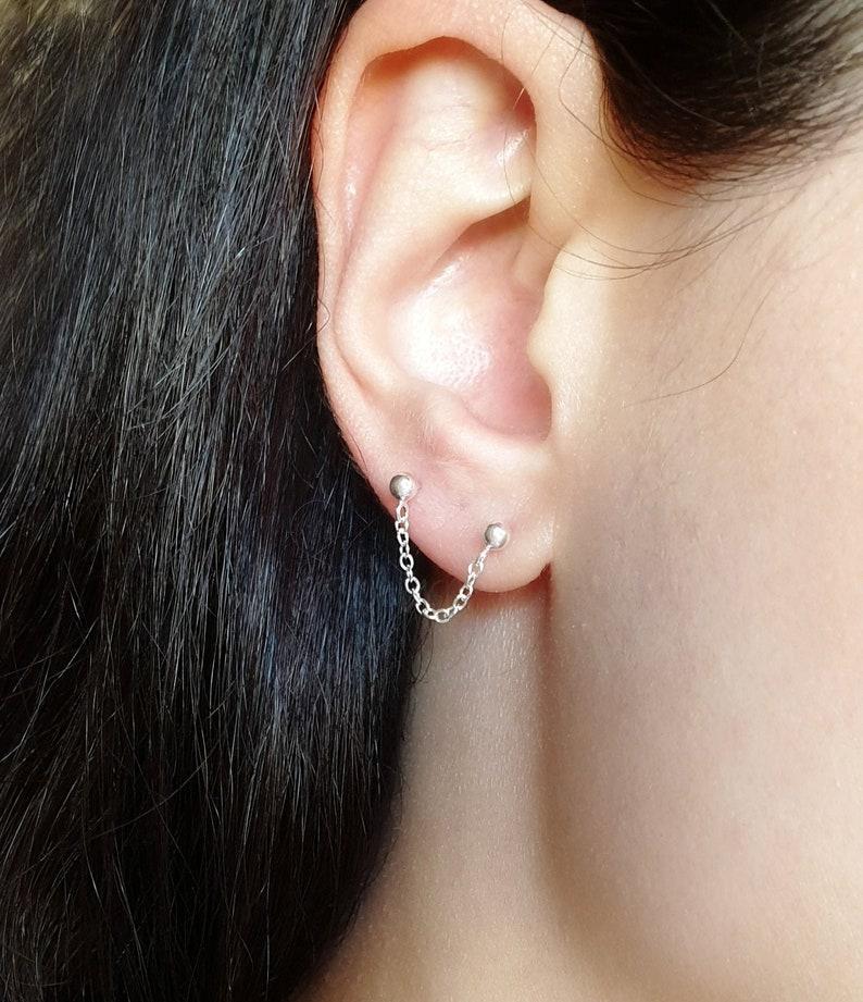 Double Piercing Earring Silver Chain Earring Personalized image 0