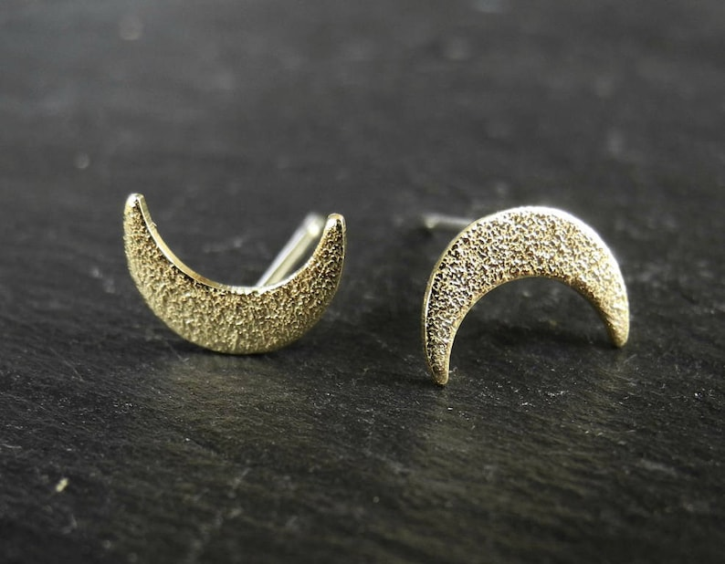 Sparkly Crescent Moon Earrings Golden Brass Earrings Moon image 0