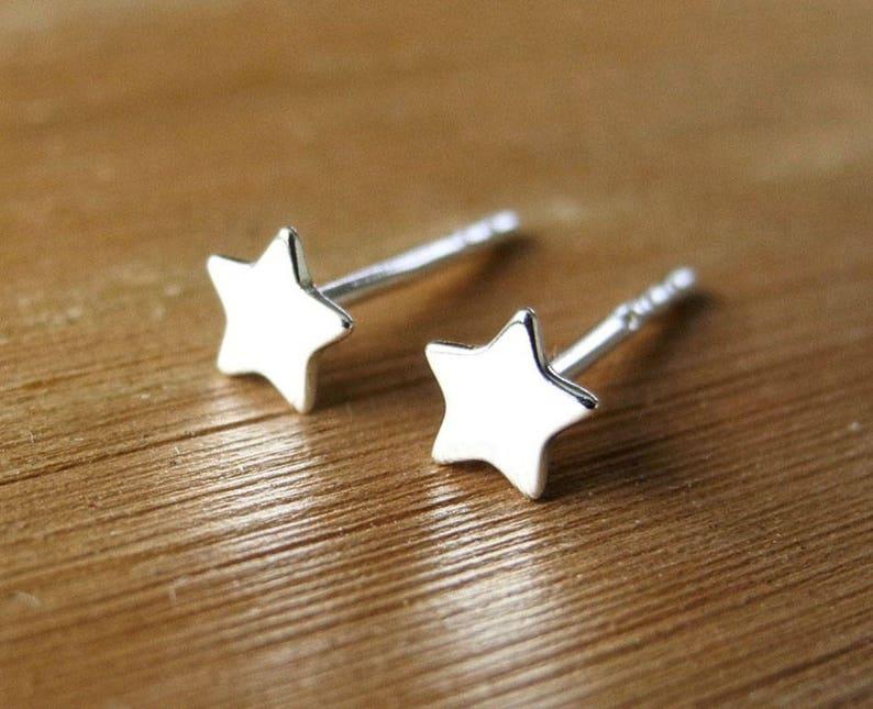 Star Earrings Stud Star Earrings Silver Tiny Stars Star image 0