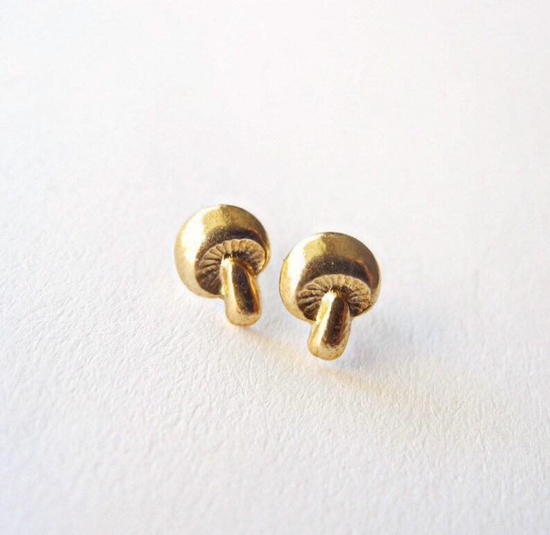 Mushroom Earrings Autumn Jewelry Tiny Stud Earrings image 0