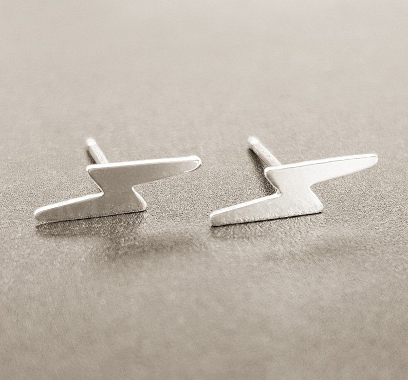 Lightning Bolt Earrings Harry Earrings Tiny Lightning Studs image 0