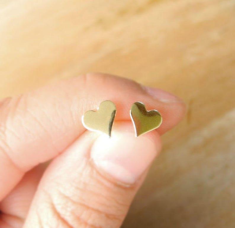 Heart Stud Earrings Gold Brass Heart Earrings Black Friday image 0