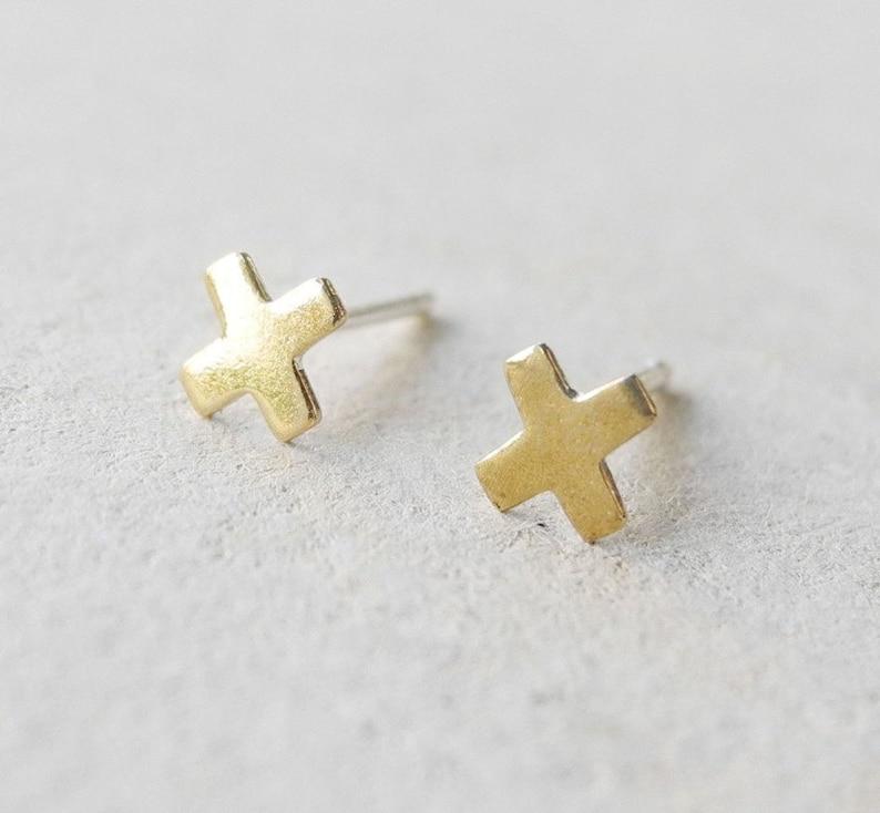 X Earrings Tiny Stud Earrings Minimalist Brass Jewelry image 0