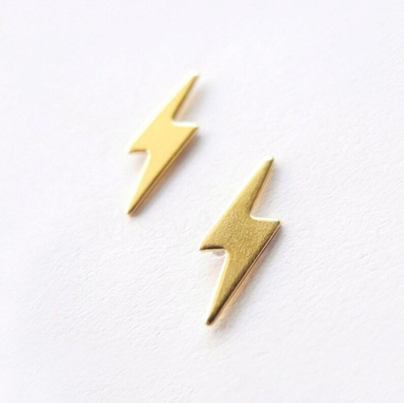 2016a3e31 Lightning Bolt Studs Earrings Sterling Silver Post Unisex | Etsy