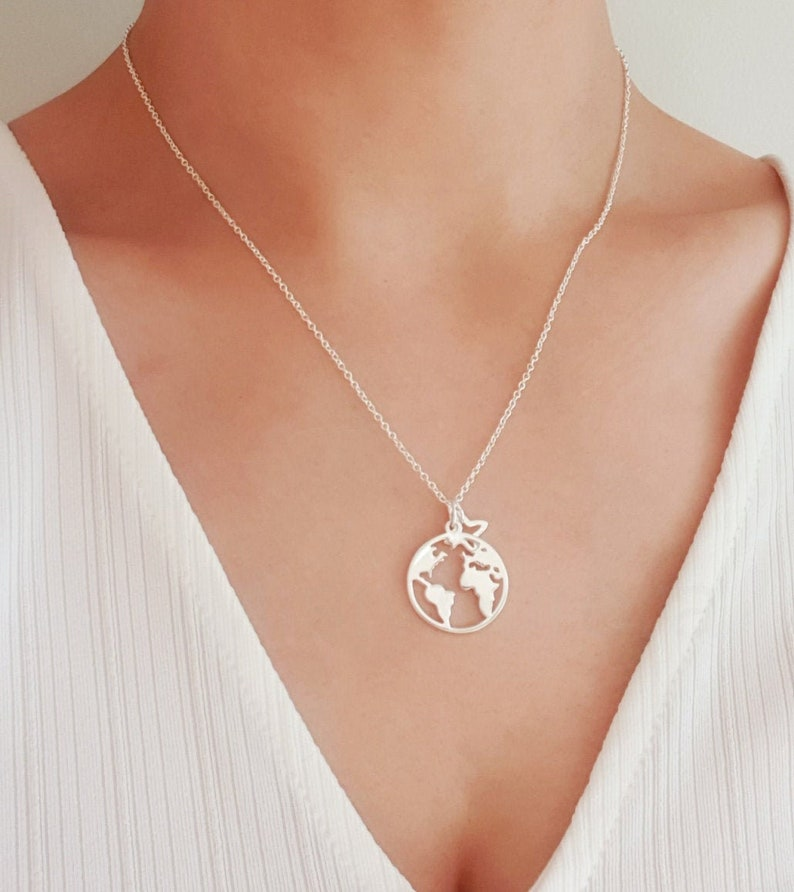 Sterling Silver World Map Necklace Globe Necklace Earth image 0