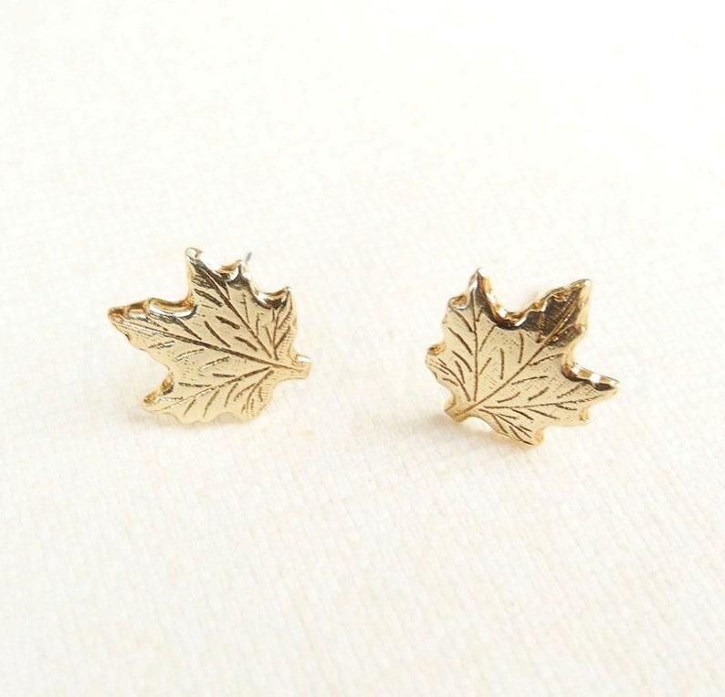 Maple Leaf Earrings Autumn Jewelry Canada Earrings Woodland image 0
