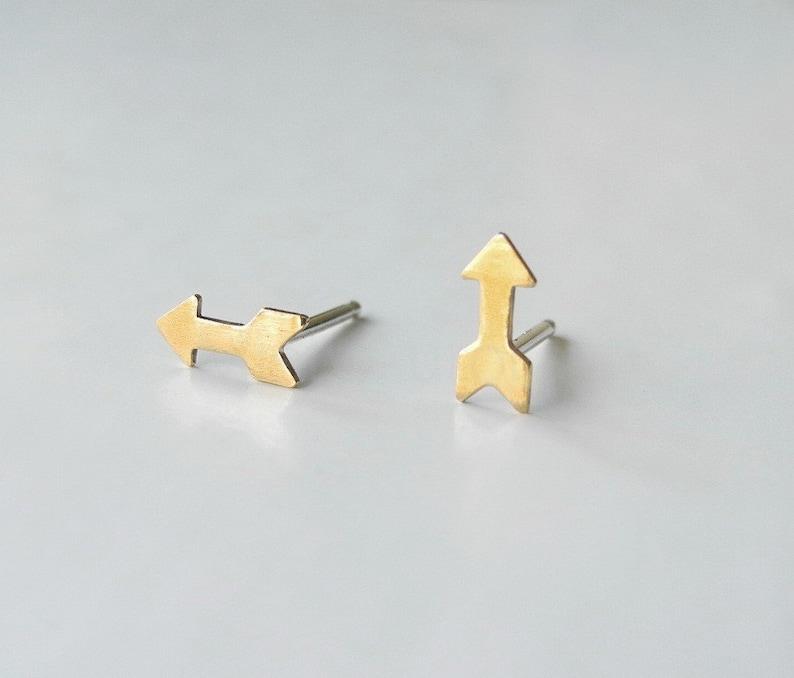 Tiny Arrow Earrings Brass Jewelry Tiny Stud Earrings image 0