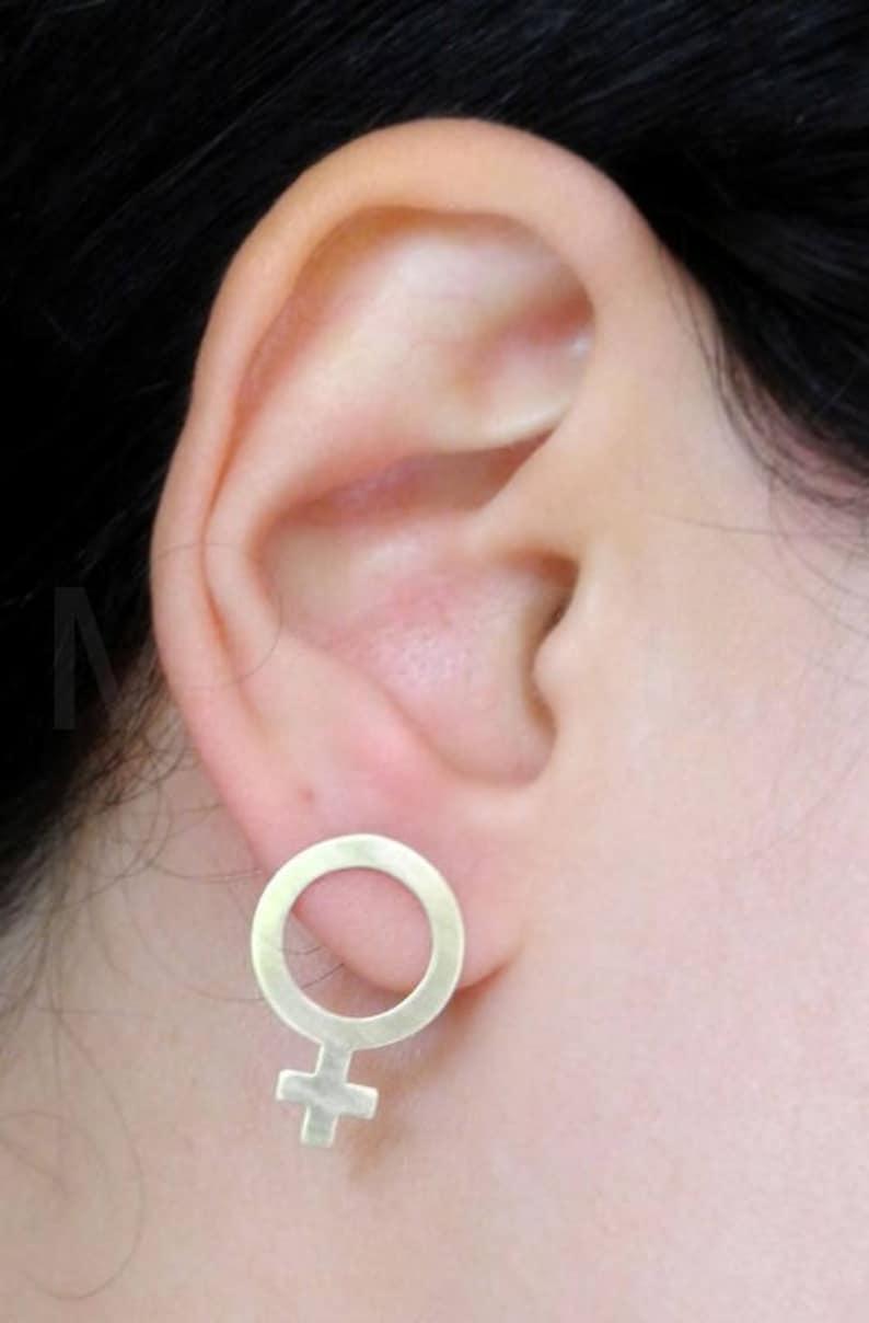 Sterling Silver Hypoallergenic Large Feminist Stud Earrings Brass Earrings Feminist Jewelry Venus Symbol Feminist Earrings Girl Power
