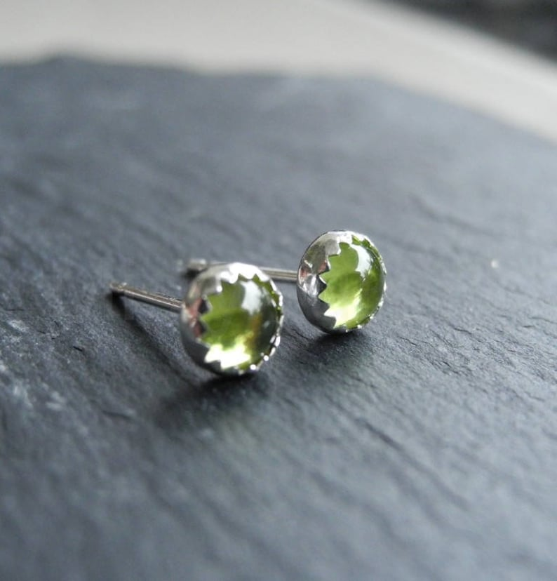 Birthstone Earrings August Birthstone Peridot Earring Studs image 0