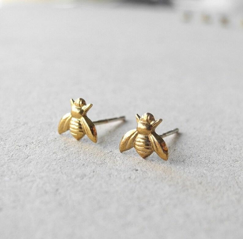Bee Stud Earrings Insect Jewelry Honey Bee Earrings Golden image 0