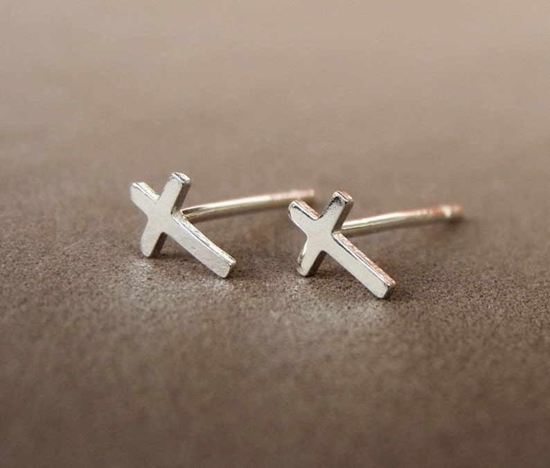 Tiny Cross Earrings Crucifix Studs Cross Jewelry Sterling image 0